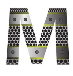 Perforated metal letter M vector