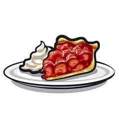 Pie with strawberry vector