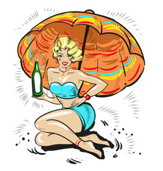 pin up blond girl holding bottle drink under sun vector image