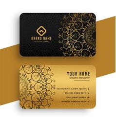 premium golden mandala business card template vector image