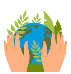 protecting planet hands hold green leaves save vector image