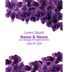 purple flowers frame wedding invitation vector image