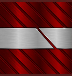 red metal background stainless steel cut plate vector image