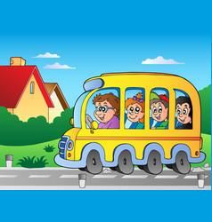 Road with school bus 1 vector