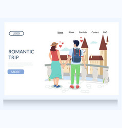 romantic trip website landing page design vector image