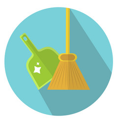Scoop and broom icon flat style cleaning icon vector