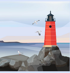 sea landscape lighthouse ocean or sea water with vector image