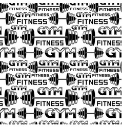 seamless pattern with barbells and dumbbells vector image