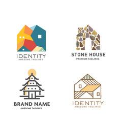 set modern real estate building logo vector image