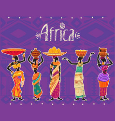 Set of african woman in ethnic dress vector