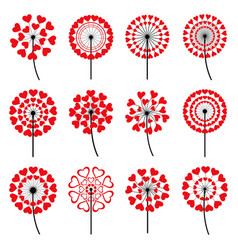Set of decorative dandelion heart shape vector