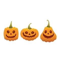 Set of funny pumpkin faces for halloween vector