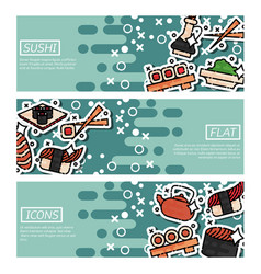 set of horizontal banners about sushi vector image