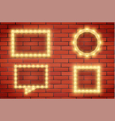 set of retro light bulbs and frames on brick wall vector image
