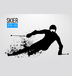 Silhouette of skier isolated vector