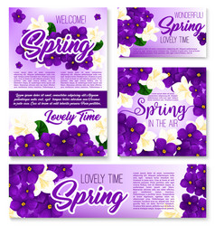 Spring season purple flower banner template vector