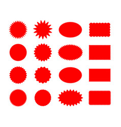 Star price red stickers set vector