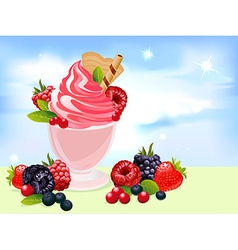 Sundae with berry and blue sky vector