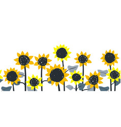 sunflowers horizontal border seamless vector image