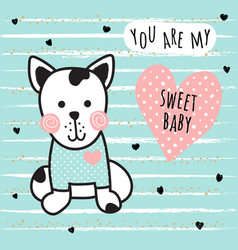 Sweet dog card vector