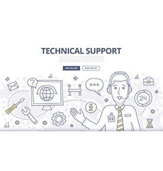 Technical Support Doodle Concept vector