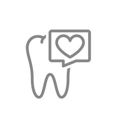 Tooth with heart in speech bubble line icon vector