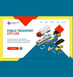 transport car 3d landing web page template vector image