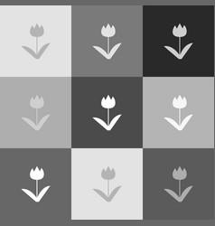 Tulip sign grayscale version of popart vector