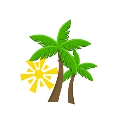 Two palm trees and sun vector