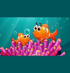 Underwater scene with clownfish cartoon character vector
