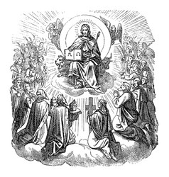 vintage antique religious biblical drawing vector image