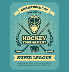 vintage poster hockey championships vector image