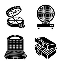 Waffle-iron icons set simple style vector
