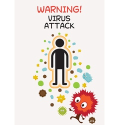 Warning Sign Virus Attack Human vector