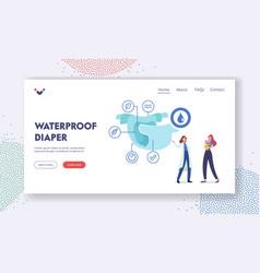 Waterproof diaper landing page template tiny vector