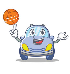 With basketball cute car character cartoon vector