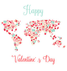 World map with elements for valentines day vector