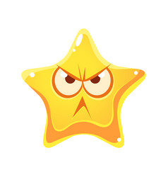 wrathful emotional face of yellow star cartoon vector image