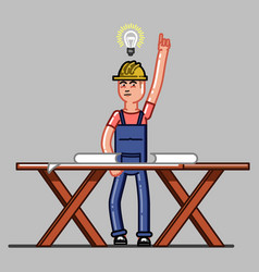 builder exploring the drawings vector image vector image
