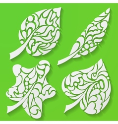 four spring leaves vector image