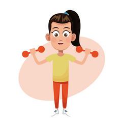 girl weight sport practice vector image