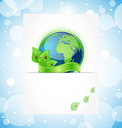 Green earth with leaves wrapped ribbon vector image vector image
