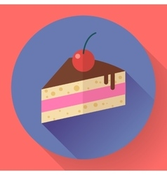 Piece of cake with cherry icon modern minimal vector image