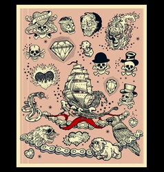 Set of tattoos vector