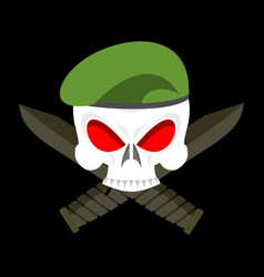 Skull in beret military emblem army cap and knife vector