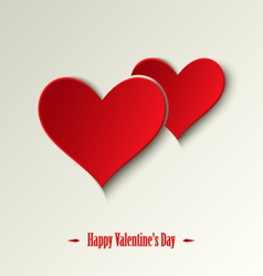 Valentine card with red hearts on a light vector image vector image