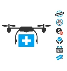 Ambulance Drone Icon With Free Bonus vector image vector image
