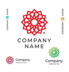 contour beauty flower logo modern identity brand vector image