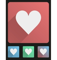 Flat icon set heart vector image