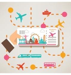 Hand holding travel ticket travel around the world vector